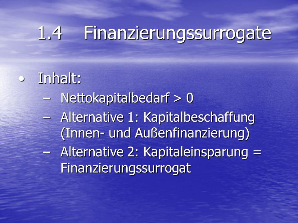1.4Finanzierungssurrogate Inhalt:Inhalt: –Nettokapitalbedarf > 0 –Alternative 1: Kapitalbeschaffung (Innen- und Außenfinanzierung) –Alternative 2: Kap