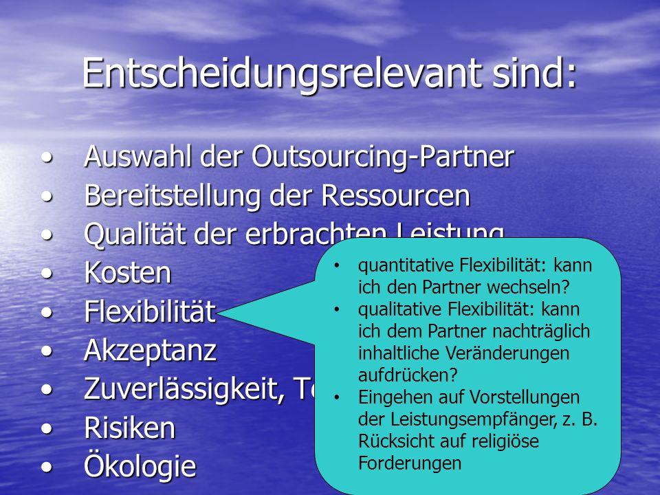 Entscheidungsrelevant sind: Auswahl der Outsourcing-PartnerAuswahl der Outsourcing-Partner Bereitstellung der RessourcenBereitstellung der Ressourcen