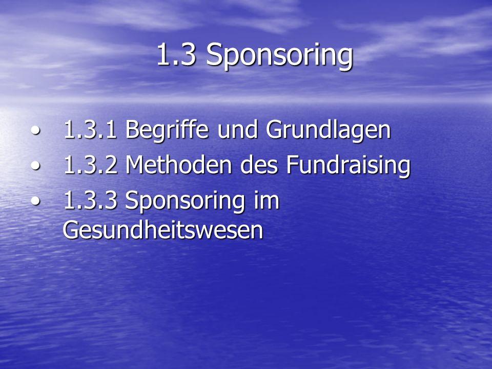 1.3 Sponsoring 1.3.1 Begriffe und Grundlagen1.3.1 Begriffe und Grundlagen 1.3.2 Methoden des Fundraising1.3.2 Methoden des Fundraising 1.3.3 Sponsorin