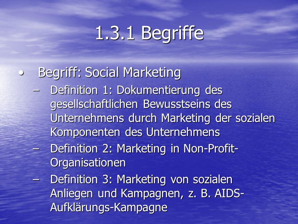 1.3.1 Begriffe Begriff: Social MarketingBegriff: Social Marketing –Definition 1: Dokumentierung des gesellschaftlichen Bewusstseins des Unternehmens d