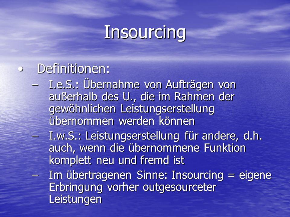 Insourcing Definitionen:Definitionen: –I.e.S.: Übernahme von Aufträgen von außerhalb des U., die im Rahmen der gewöhnlichen Leistungserstellung überno