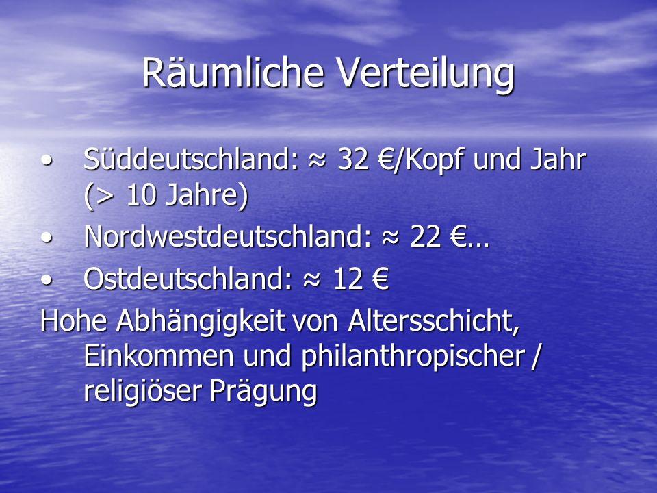 Räumliche Verteilung Süddeutschland: 32 /Kopf und Jahr (> 10 Jahre)Süddeutschland: 32 /Kopf und Jahr (> 10 Jahre) Nordwestdeutschland: 22 …Nordwestdeu