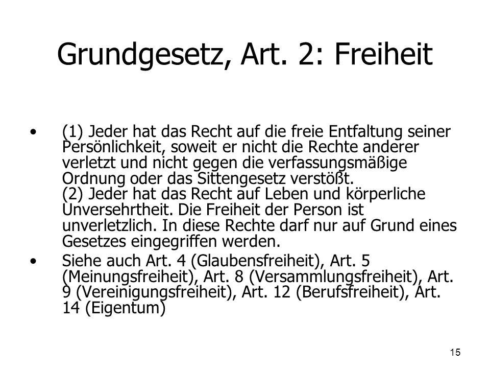 Grundgesetz, Art. 2: Freiheit (1) Jeder hat das Recht auf die freie Entfaltung seiner Persönlichkeit, soweit er nicht die Rechte anderer verletzt und