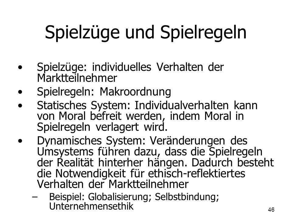 Spielzüge und Spielregeln Spielzüge: individuelles Verhalten der Marktteilnehmer Spielregeln: Makroordnung Statisches System: Individualverhalten kann