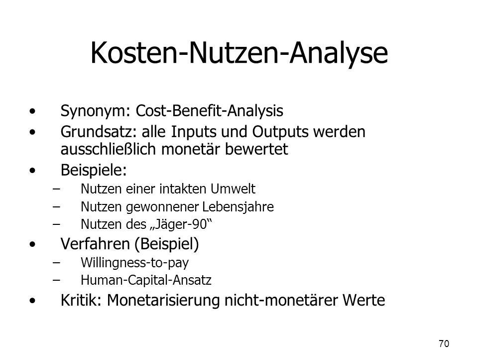 Kosten-Nutzen-Analyse Synonym: Cost-Benefit-Analysis Grundsatz: alle Inputs und Outputs werden ausschließlich monetär bewertet Beispiele: – –Nutzen ei