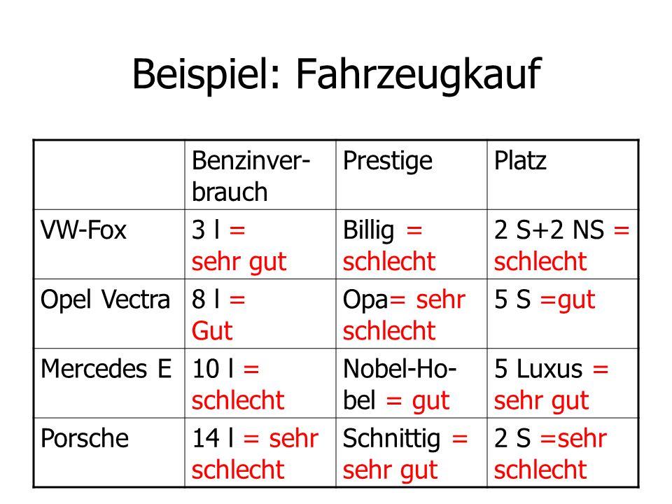 Beispiel: Fahrzeugkauf Benzinver- brauch PrestigePlatz VW-Fox3 l = sehr gut Billig = schlecht 2 S+2 NS = schlecht Opel Vectra8 l = Gut Opa= sehr schle