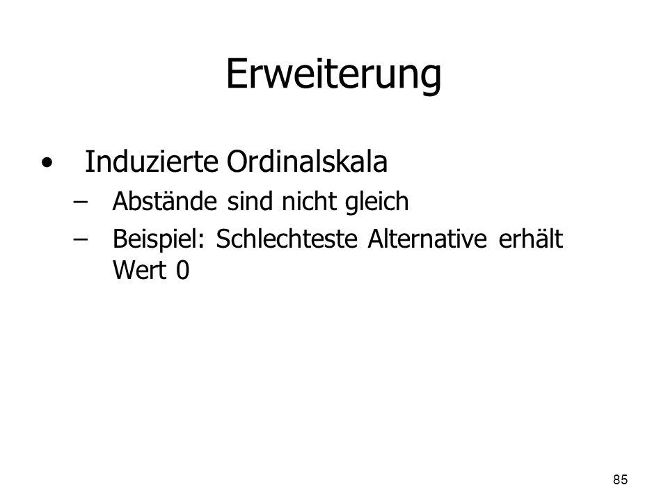 Erweiterung Induzierte Ordinalskala – –Abstände sind nicht gleich – –Beispiel: Schlechteste Alternative erhält Wert 0 85