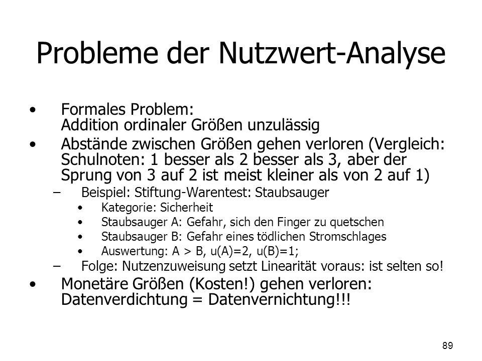 Probleme der Nutzwert-Analyse Formales Problem: Addition ordinaler Größen unzulässig Abstände zwischen Größen gehen verloren (Vergleich: Schulnoten: 1