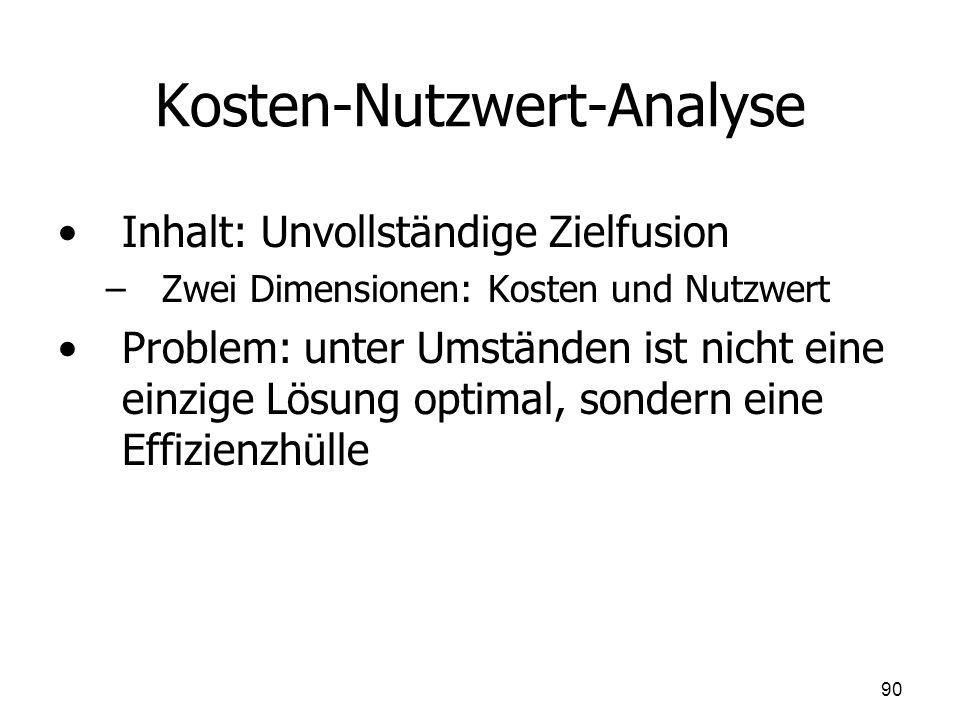 Kosten-Nutzwert-Analyse Inhalt: Unvollständige Zielfusion – –Zwei Dimensionen: Kosten und Nutzwert Problem: unter Umständen ist nicht eine einzige Lös