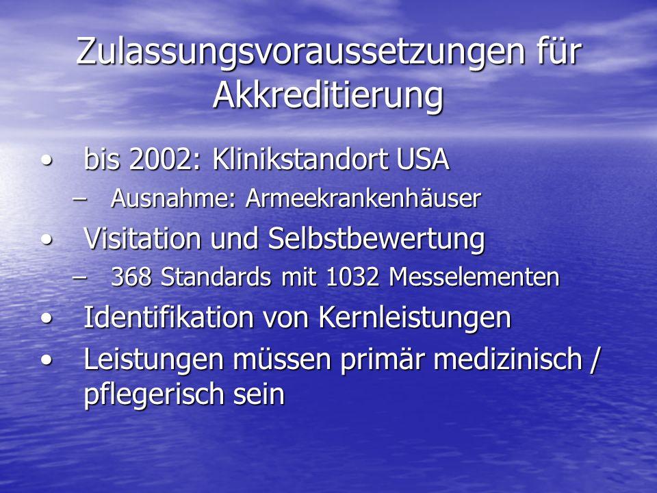 Zulassungsvoraussetzungen für Akkreditierung bis 2002: Klinikstandort USAbis 2002: Klinikstandort USA –Ausnahme: Armeekrankenhäuser Visitation und Sel