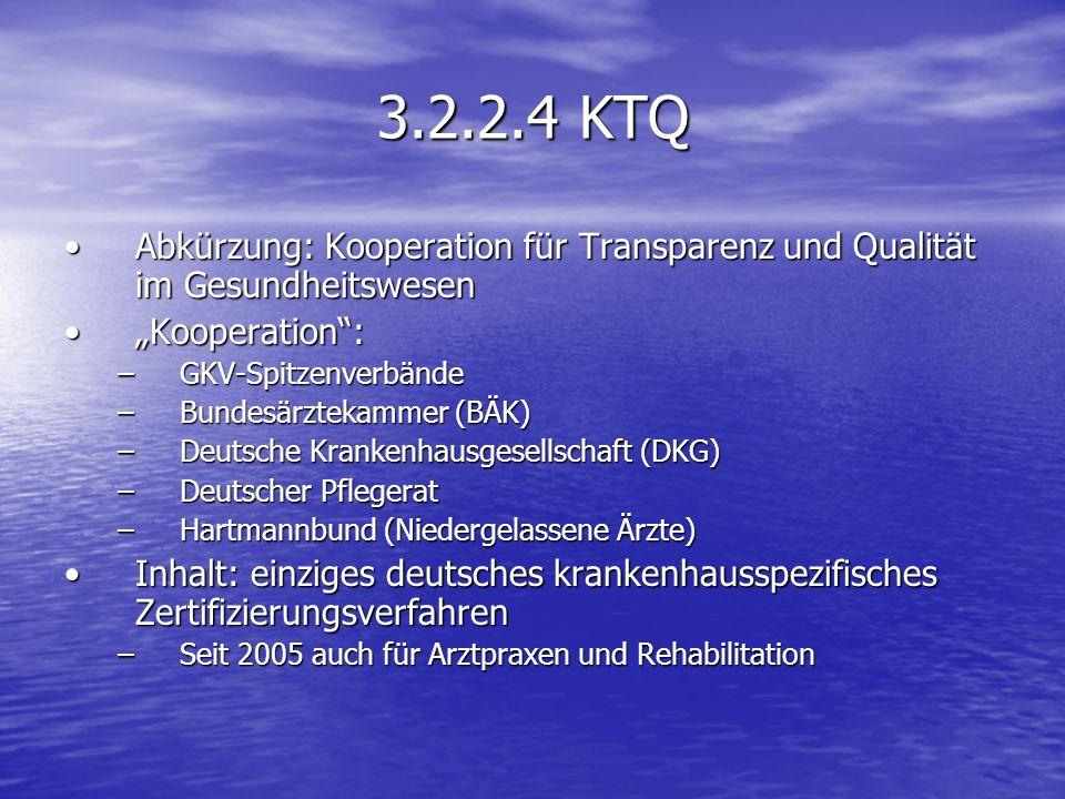 3.2.2.4 KTQ Abkürzung: Kooperation für Transparenz und Qualität im GesundheitswesenAbkürzung: Kooperation für Transparenz und Qualität im Gesundheitsw