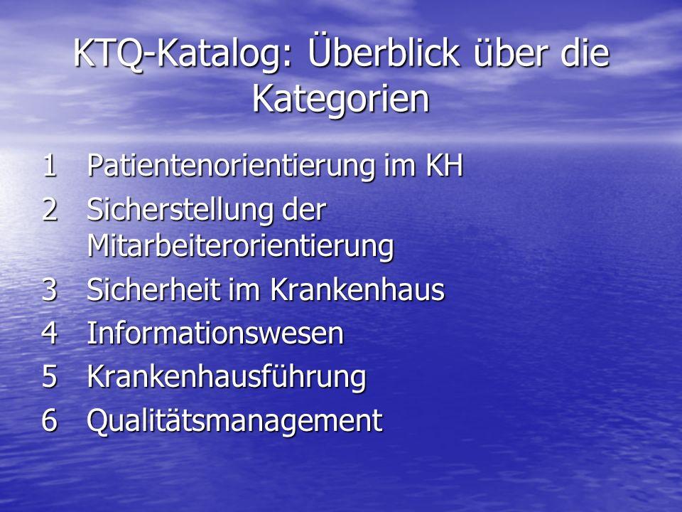 KTQ-Katalog: Überblick über die Kategorien 1Patientenorientierung im KH 2Sicherstellung der Mitarbeiterorientierung 3Sicherheit im Krankenhaus 4Inform