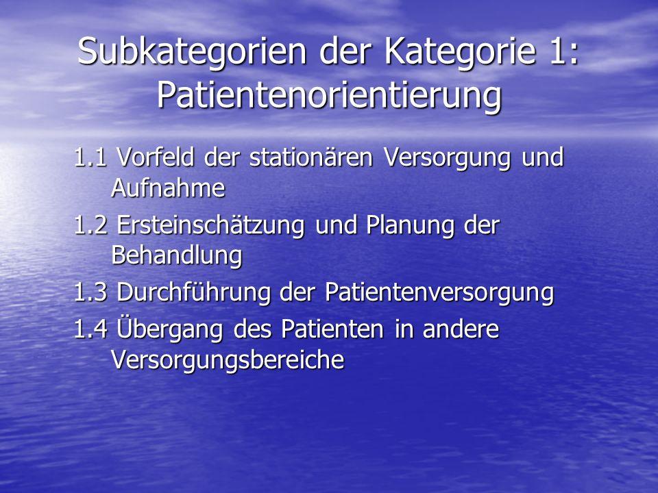 Subkategorien der Kategorie 1: Patientenorientierung 1.1 Vorfeld der stationären Versorgung und Aufnahme 1.2 Ersteinschätzung und Planung der Behandlu