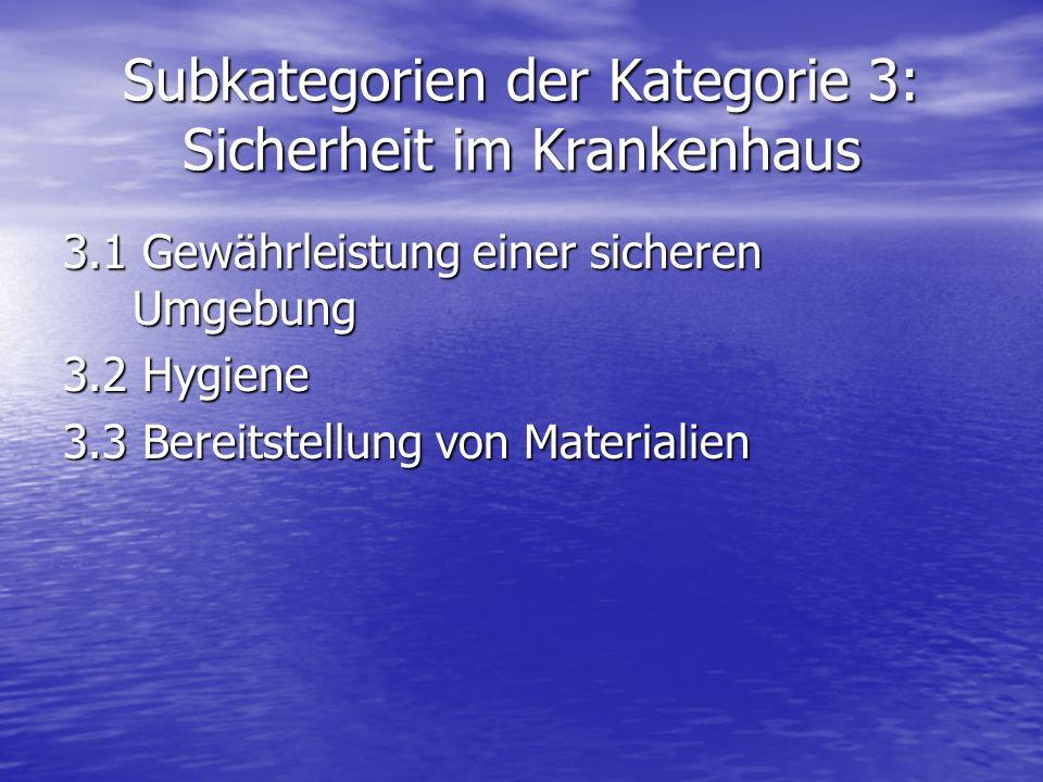 Subkategorien der Kategorie 3: Sicherheit im Krankenhaus 3.1 Gewährleistung einer sicheren Umgebung 3.2 Hygiene 3.3 Bereitstellung von Materialien
