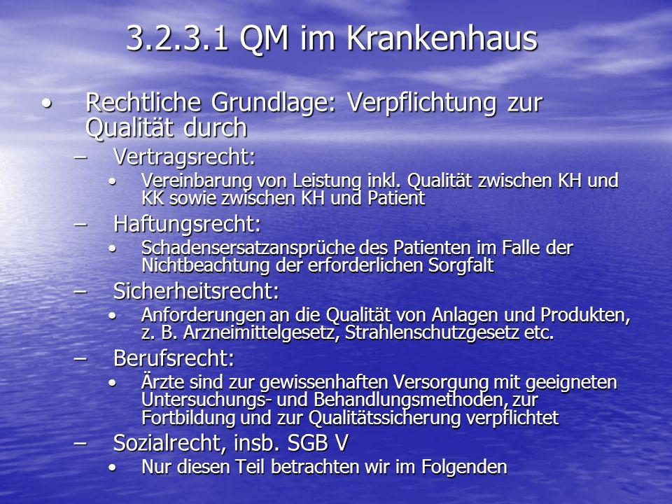 3.2.3.1 QM im Krankenhaus Rechtliche Grundlage: Verpflichtung zur Qualität durchRechtliche Grundlage: Verpflichtung zur Qualität durch –Vertragsrecht: