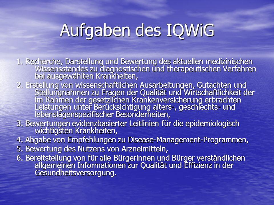 Aufgaben des IQWiG 1. Recherche, Darstellung und Bewertung des aktuellen medizinischen Wissensstandes zu diagnostischen und therapeutischen Verfahren