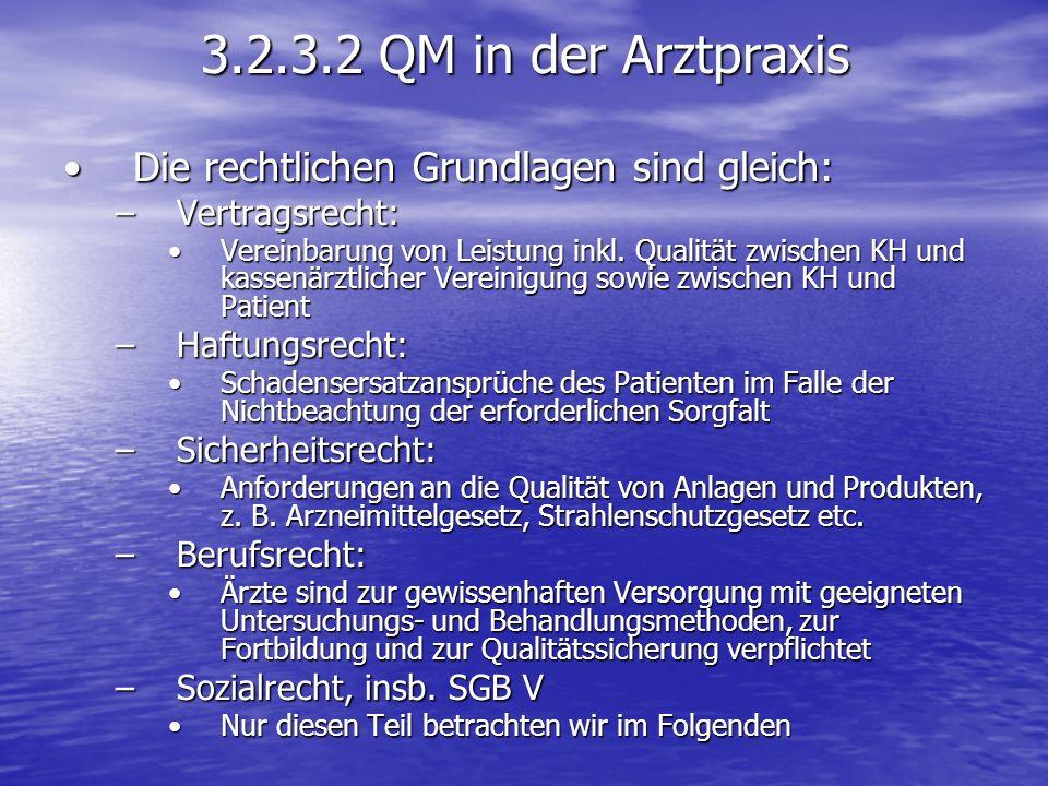 3.2.3.2 QM in der Arztpraxis Die rechtlichen Grundlagen sind gleich:Die rechtlichen Grundlagen sind gleich: –Vertragsrecht: Vereinbarung von Leistung