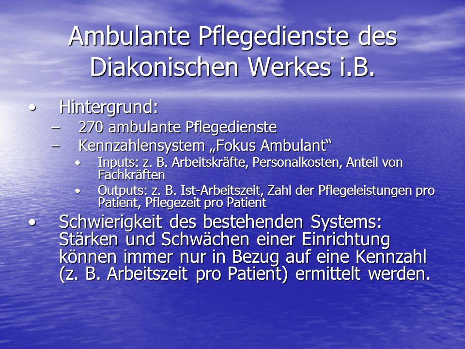 Ambulante Pflegedienste des Diakonischen Werkes i.B. Hintergrund:Hintergrund: –270 ambulante Pflegedienste –Kennzahlensystem Fokus Ambulant Inputs: z.