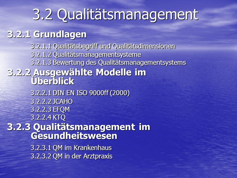 3.2 Qualitätsmanagement 3.2.1 Grundlagen 3.2.1.1 Qualitätsbegriff und Qualitätsdimensionen 3.2.1.2 Qualitätsmanagementsysteme 3.2.1.3 Bewertung des Qu