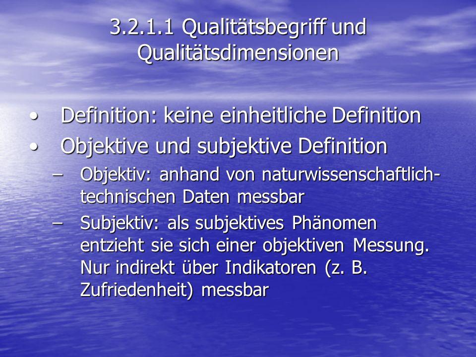 3.2.1.1 Qualitätsbegriff und Qualitätsdimensionen Definition: keine einheitliche DefinitionDefinition: keine einheitliche Definition Objektive und sub