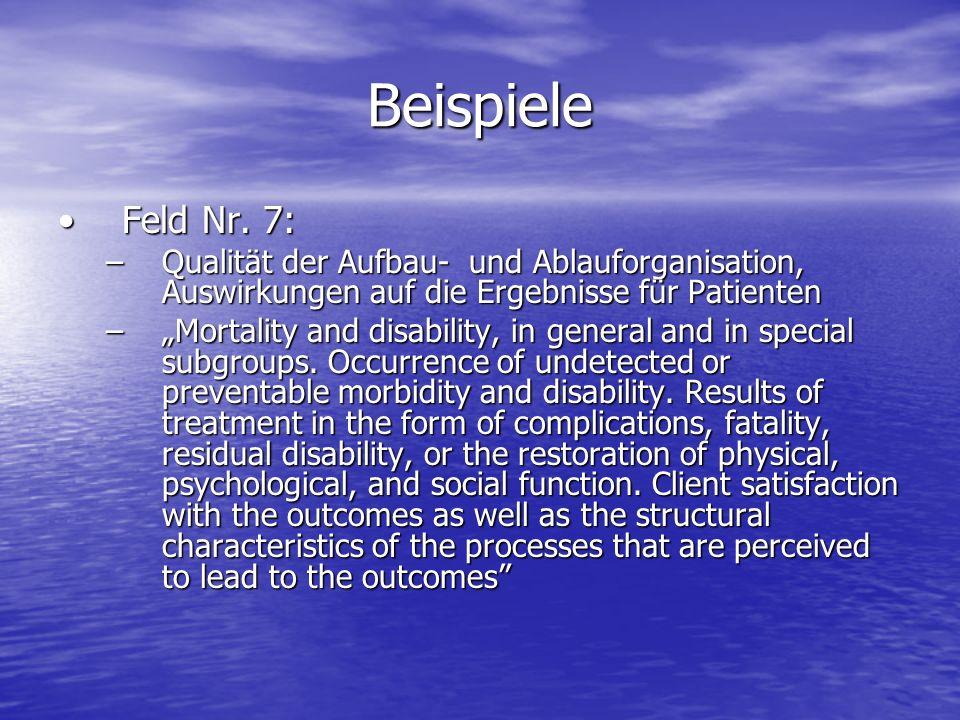 Beispiele Feld Nr. 7:Feld Nr. 7: –Qualität der Aufbau- und Ablauforganisation, Auswirkungen auf die Ergebnisse für Patienten –Mortality and disability