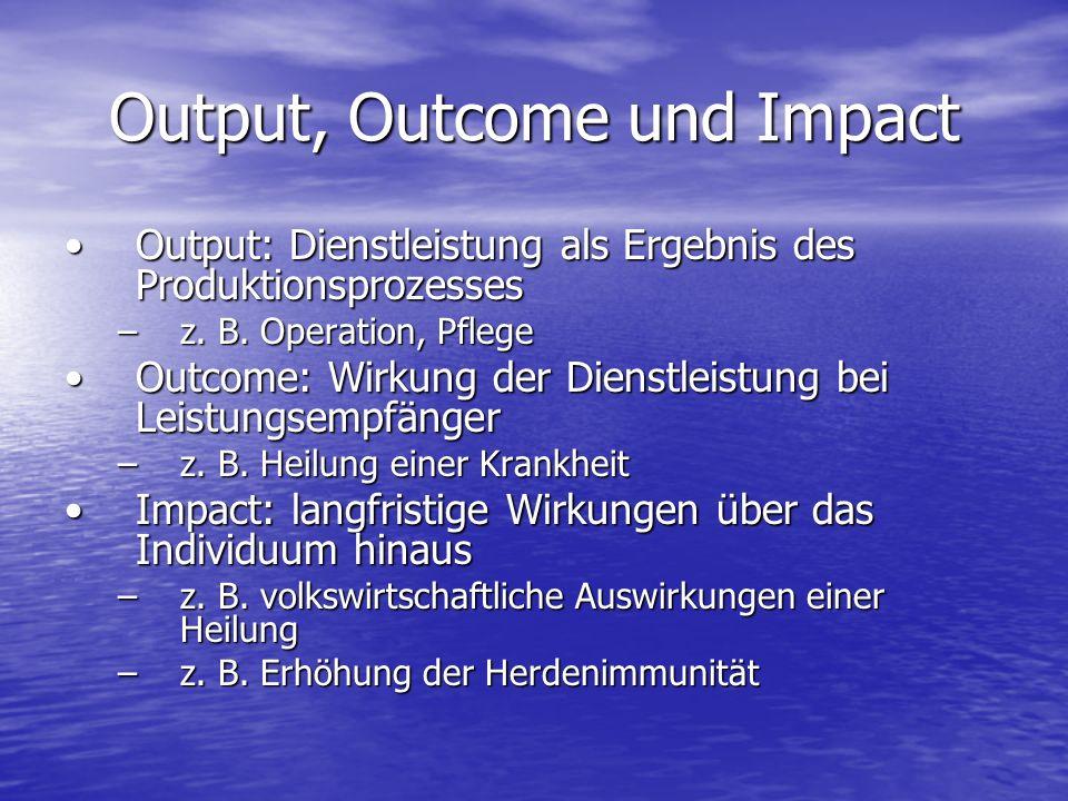 Output, Outcome und Impact Output: Dienstleistung als Ergebnis des ProduktionsprozessesOutput: Dienstleistung als Ergebnis des Produktionsprozesses –z