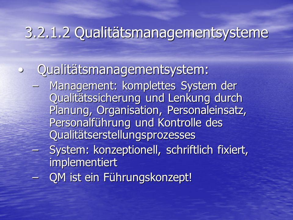 3.2.1.2 Qualitätsmanagementsysteme Qualitätsmanagementsystem:Qualitätsmanagementsystem: –Management: komplettes System der Qualitätssicherung und Lenk