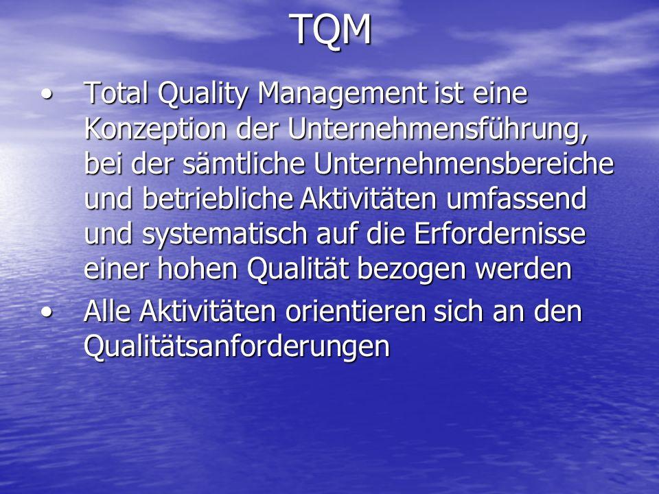 TQM Total Quality Management ist eine Konzeption der Unternehmensführung, bei der sämtliche Unternehmensbereiche und betriebliche Aktivitäten umfassen