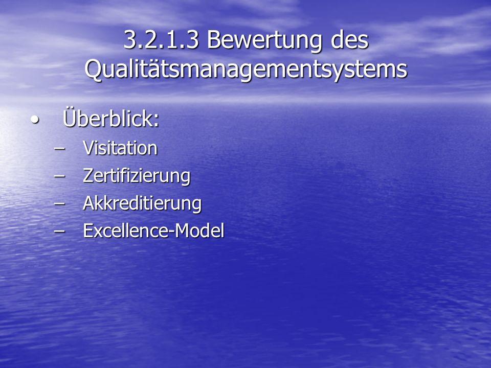 3.2.1.3 Bewertung des Qualitätsmanagementsystems Überblick:Überblick: –Visitation –Zertifizierung –Akkreditierung –Excellence-Model