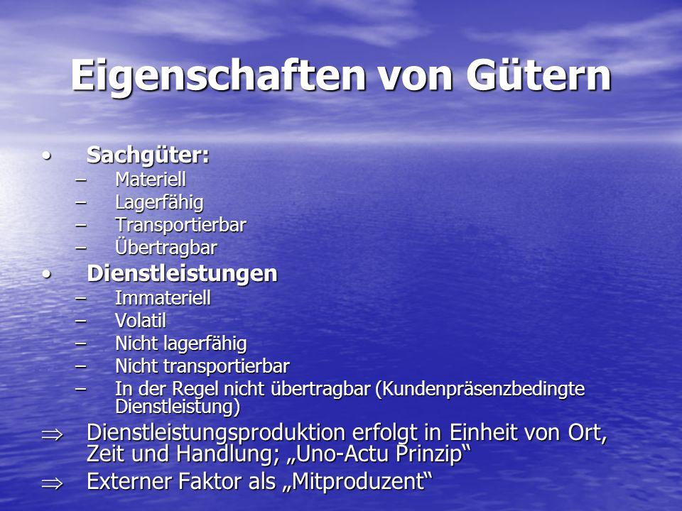 Eigenschaften von Gütern Sachgüter:Sachgüter: –Materiell –Lagerfähig –Transportierbar –Übertragbar DienstleistungenDienstleistungen –Immateriell –Vola