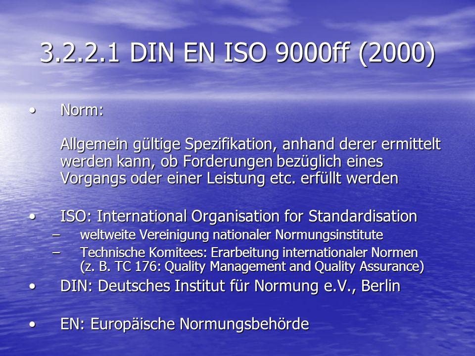 3.2.2.1 DIN EN ISO 9000ff (2000) Norm: Allgemein gültige Spezifikation, anhand derer ermittelt werden kann, ob Forderungen bezüglich eines Vorgangs od