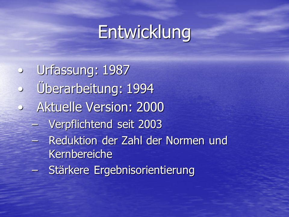 Entwicklung Urfassung: 1987Urfassung: 1987 Überarbeitung: 1994Überarbeitung: 1994 Aktuelle Version: 2000Aktuelle Version: 2000 –Verpflichtend seit 200