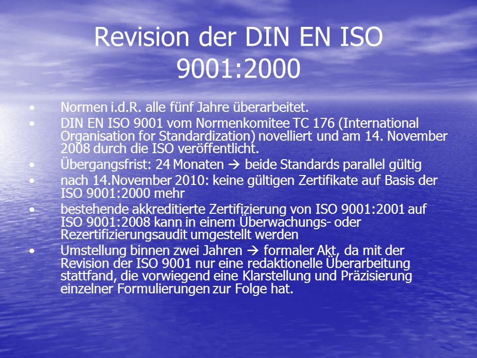 Revision der DIN EN ISO 9001:2000 Normen i.d.R. alle fünf Jahre überarbeitet. DIN EN ISO 9001 vom Normenkomitee TC 176 (International Organisation for