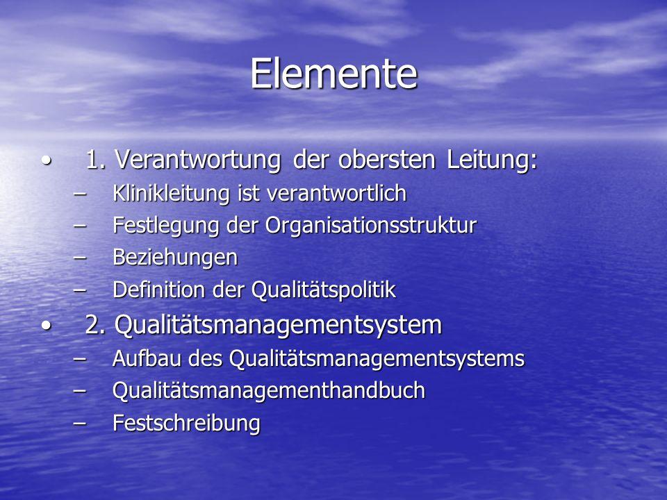 Elemente 1. Verantwortung der obersten Leitung:1. Verantwortung der obersten Leitung: –Klinikleitung ist verantwortlich –Festlegung der Organisationss