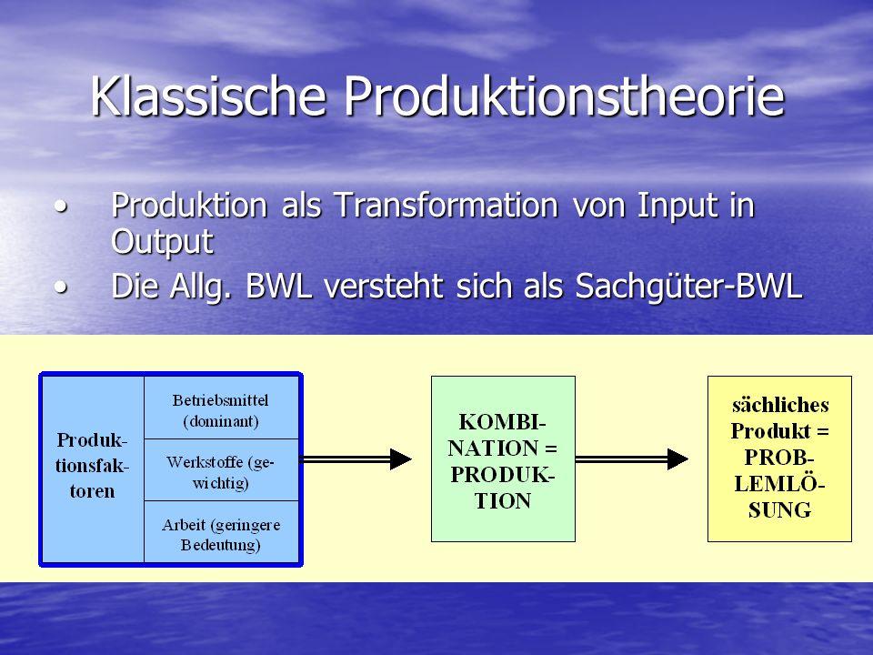 Klassische Produktionstheorie Produktion als Transformation von Input in OutputProduktion als Transformation von Input in Output Die Allg. BWL versteh