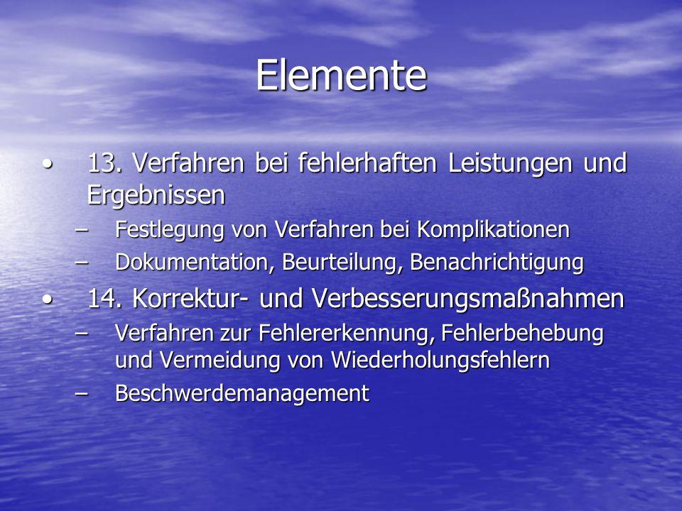 Elemente 13. Verfahren bei fehlerhaften Leistungen und Ergebnissen13. Verfahren bei fehlerhaften Leistungen und Ergebnissen –Festlegung von Verfahren