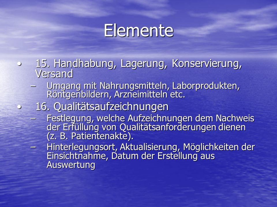 Elemente 15. Handhabung, Lagerung, Konservierung, Versand15. Handhabung, Lagerung, Konservierung, Versand –Umgang mit Nahrungsmitteln, Laborprodukten,
