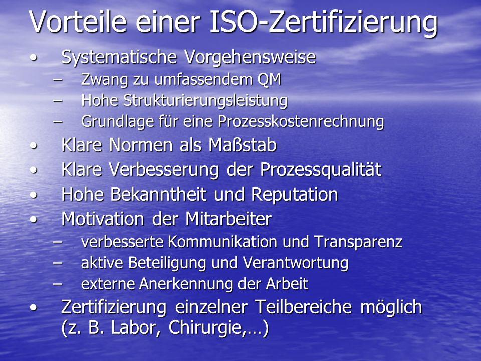 Vorteile einer ISO-Zertifizierung Systematische VorgehensweiseSystematische Vorgehensweise –Zwang zu umfassendem QM –Hohe Strukturierungsleistung –Gru