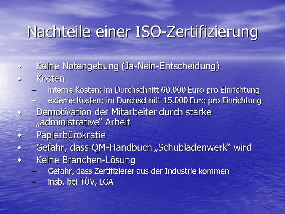Nachteile einer ISO-Zertifizierung Keine Notengebung (Ja-Nein-Entscheidung)Keine Notengebung (Ja-Nein-Entscheidung) KostenKosten –interne Kosten: im D