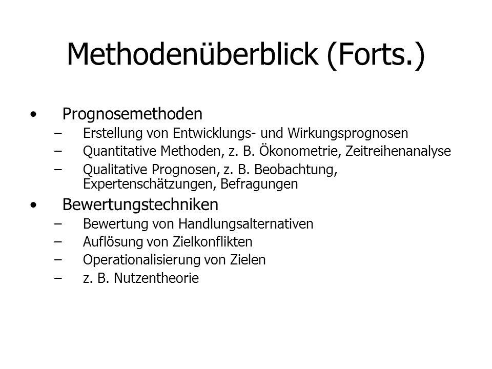 Methodenüberblick (Forts.) Prognosemethoden – –Erstellung von Entwicklungs- und Wirkungsprognosen – –Quantitative Methoden, z. B. Ökonometrie, Zeitrei