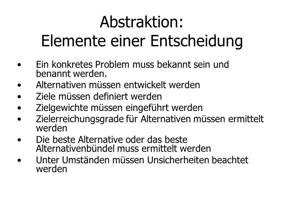 Abstraktion: Elemente einer Entscheidung Ein konkretes Problem muss bekannt sein und benannt werden. Alternativen müssen entwickelt werden Ziele müsse