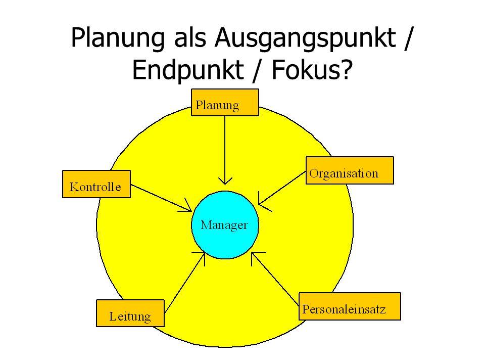 Planung als Ausgangspunkt / Endpunkt / Fokus?