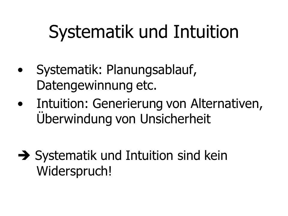 Systematik und Intuition Systematik: Planungsablauf, Datengewinnung etc. Intuition: Generierung von Alternativen, Überwindung von Unsicherheit Systema