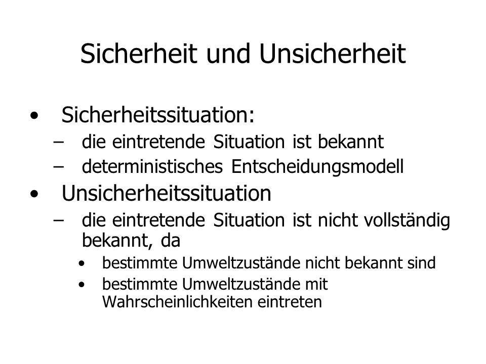 Sicherheit und Unsicherheit Sicherheitssituation: – –die eintretende Situation ist bekannt – –deterministisches Entscheidungsmodell Unsicherheitssitua