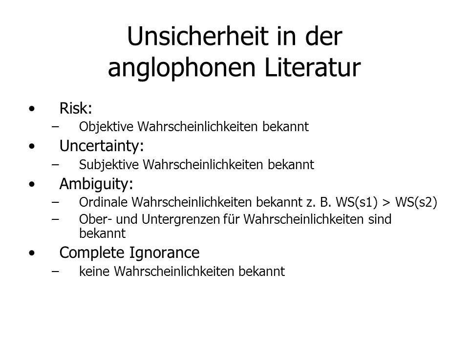 Unsicherheit in der anglophonen Literatur Risk: – –Objektive Wahrscheinlichkeiten bekannt Uncertainty: – –Subjektive Wahrscheinlichkeiten bekannt Ambiguity: – –Ordinale Wahrscheinlichkeiten bekannt z.