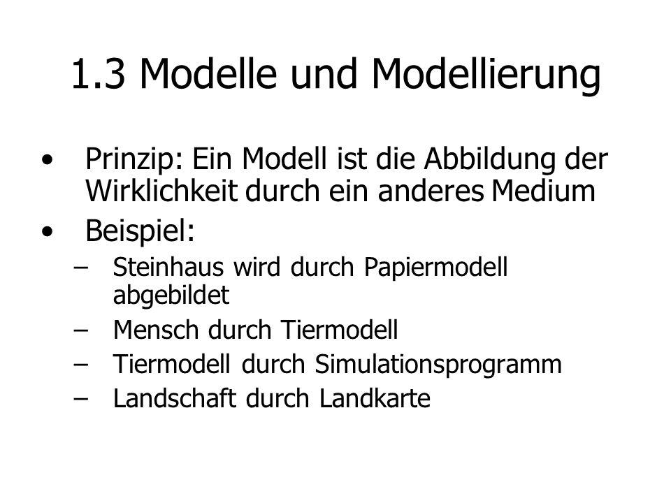 1.3 Modelle und Modellierung Prinzip: Ein Modell ist die Abbildung der Wirklichkeit durch ein anderes Medium Beispiel: – –Steinhaus wird durch Papiermodell abgebildet – –Mensch durch Tiermodell – –Tiermodell durch Simulationsprogramm – –Landschaft durch Landkarte