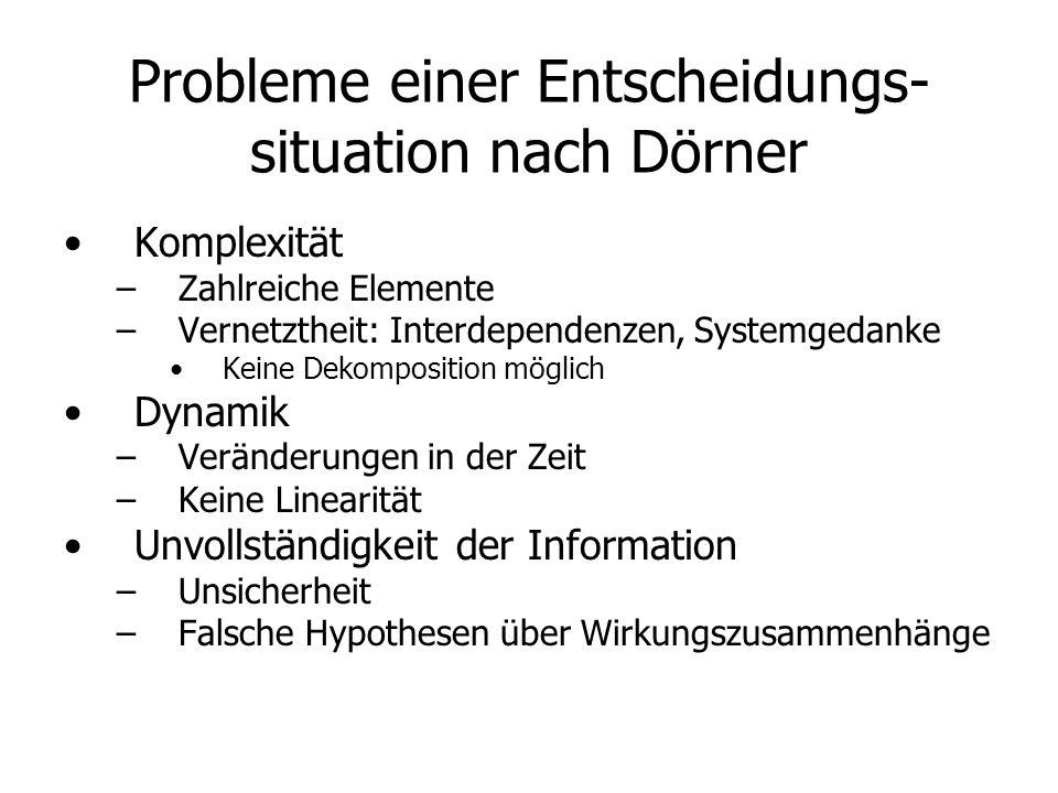 Probleme einer Entscheidungs- situation nach Dörner Komplexität – –Zahlreiche Elemente – –Vernetztheit: Interdependenzen, Systemgedanke Keine Dekompos