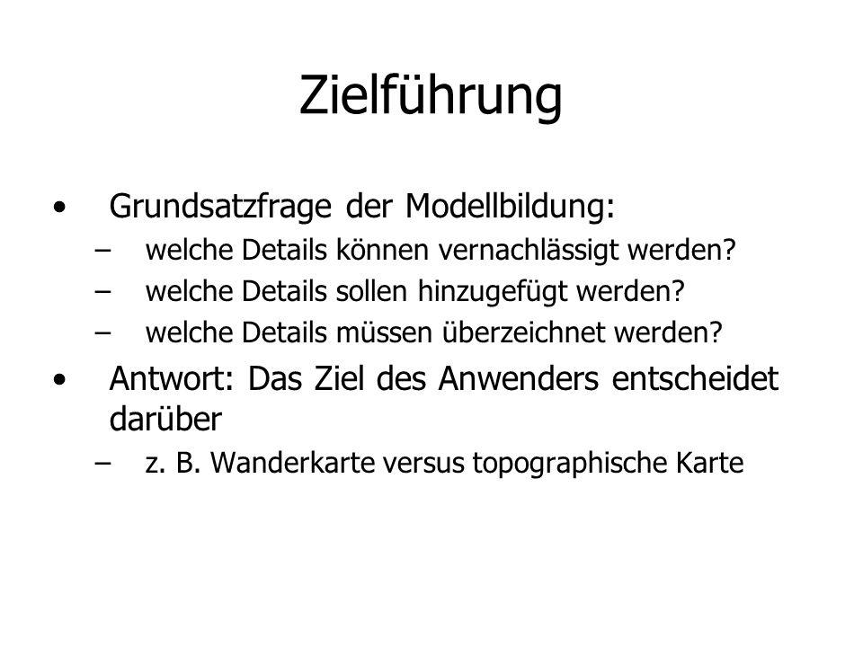 Zielführung Grundsatzfrage der Modellbildung: – –welche Details können vernachlässigt werden? – –welche Details sollen hinzugefügt werden? – –welche D