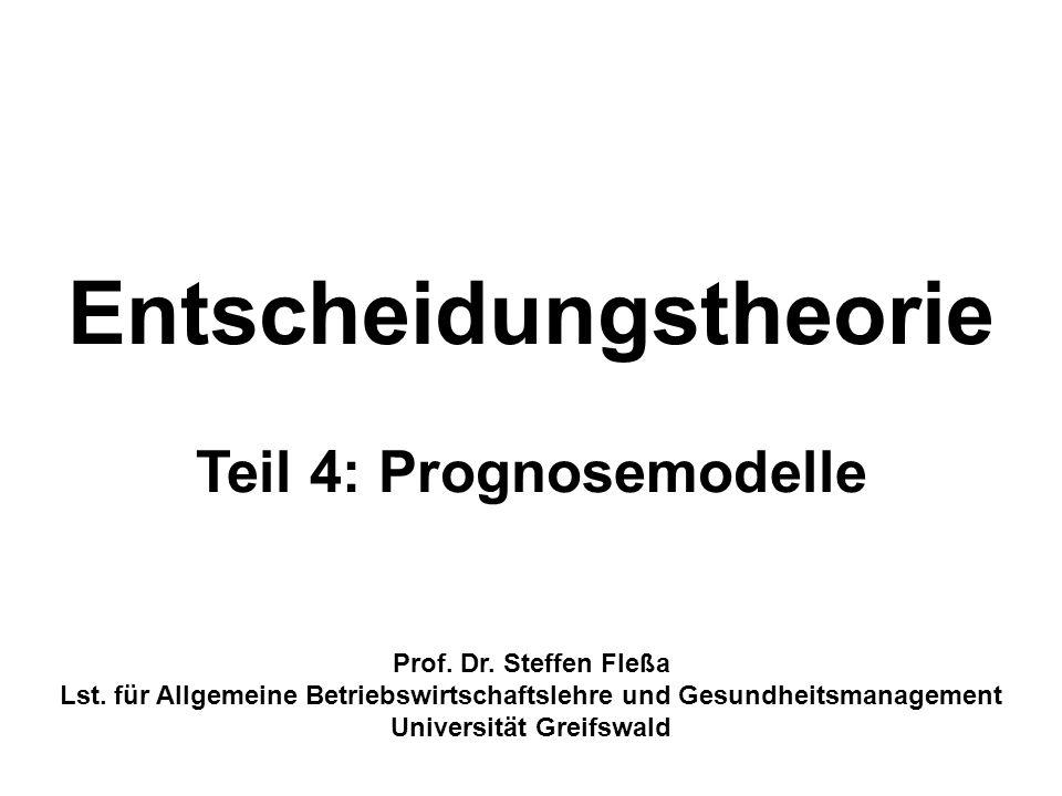 Gliederung 1 Grundlagen 2Werte- und Zielsystem 3Konzepte der Entscheidungstheorie 4Prognosemodelle 4.1 Statistische Prognosemodelle 4.1.1 Gleitende Durchschnitte 4.1.2 Exponentielle Glättung 4.1.3 Ökonometrische Modelle 4.1.4 Neuronale Netze 4.2 Prognostizierende Modelle 4.2.1 Netzplantechnik 4.2.2 Markov-Modelle 4.2.3 System Dynamics 4.3.4 Simulation 4.3 Expertenprognosen 2
