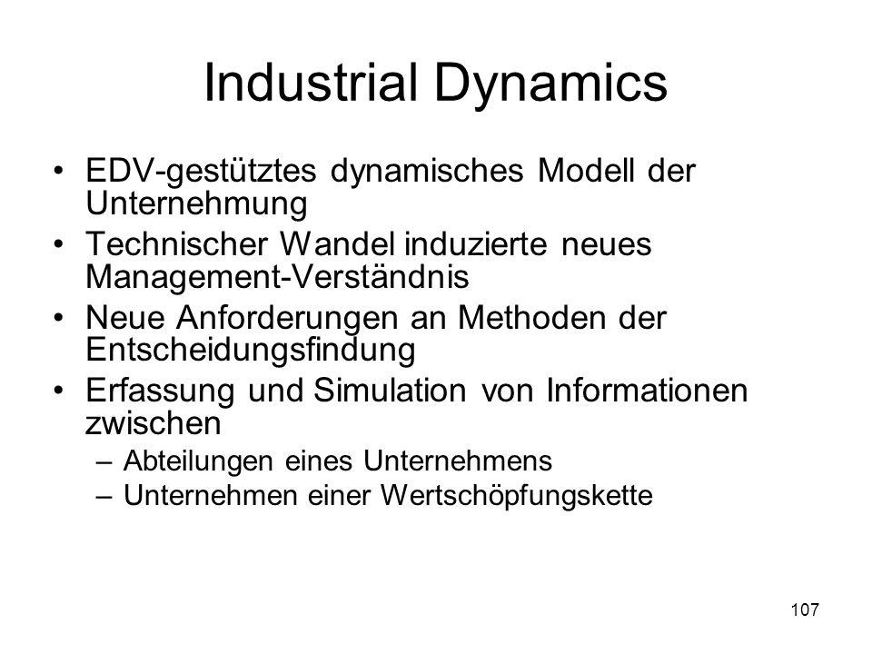 Industrial Dynamics EDV-gestütztes dynamisches Modell der Unternehmung Technischer Wandel induzierte neues Management-Verständnis Neue Anforderungen a